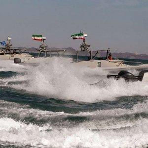 IRGC Boats Monitor US Warship