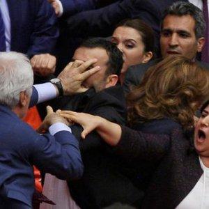 Violent Brawl at Turkish Parliament