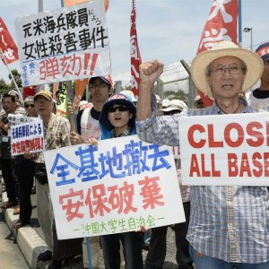 Mourning for Murdered Japanese Woman in Okinawa US Base