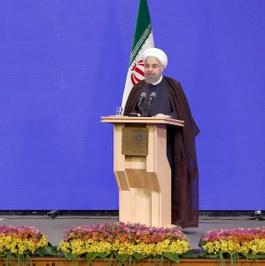 President Hassan Rouhani addresses members of the medical community in Tehran on Aug. 22.