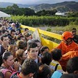 Venezuelans gather to cross the border into Colombia at the Simon Bolivar Bridge.
