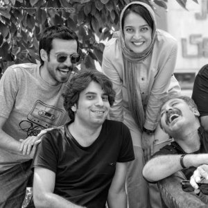 Payam Larian (R) and his theater group