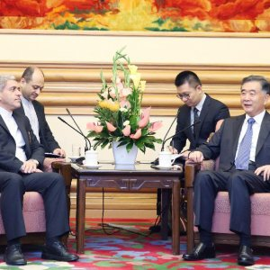 Ali Tayyebnia (L) met with Chinese Vice Premier Wang Yang in Beijing, Aug. 17.