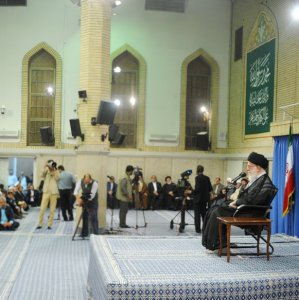 Ayatollah Seyyed Ali Khamenei addresses families of Iranian victims of last year's hajj disasters in Tehran on Sept. 7.