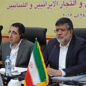 Lebanese Minister of Industry Hussein El Hage Hassan (L) and the new head of Iran's Trade Promotion Organization, Mojtaba Khosrotaj, in Tehran on August 29.