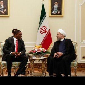 Kenyan National Assembly Speaker Justin Muturi (L) meets President Hassan Rouhani in Tehran on Sept. 25.