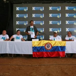 Revolutionary Armed Forces of Colombia Commander Ivan Marquez and members of the leadership attend a news conference at the camp where they prepare to ratify a peace deal with the Colombian government near El Diamante in Yari Plains, Colombia, on Sept. 23.