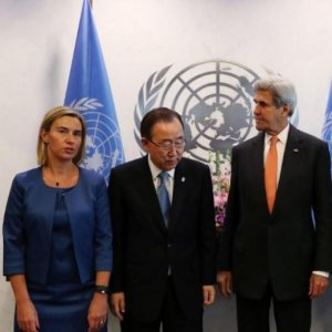 (L to R) High Representative of the EU for Foreign Affairs and Security Policy Federica Mogherini, UN Secretary-General Ban Ki-moon, US Secretary of State John Kerry and Russian Foreign Minister Sergey Lavrov gather before a Middle East Quartet meeting.