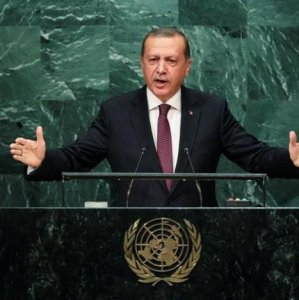 Turkish President Recep Tayyip Erdogan addresses the United Nations General Assembly in the Manhattan borough of New York, USA, on Sept. 20.