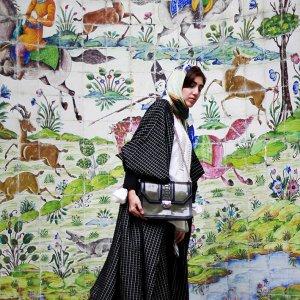 A model poses at Tehran's Niavaran Palace dressed in Iranian designer garments and accessories. (Photo: Donya Joshani/The Tehran Times fashion blog)