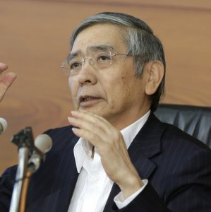 Bank of Japan Governor Haruhiko Kuroda attends a news conference at the  BoJ headquarters in Tokyo on September 21.