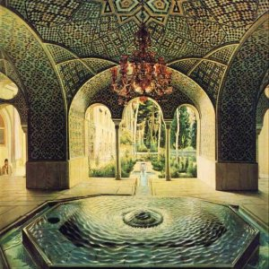 Spring House of Golestan painted by Kamal-ol-Molk in 1889