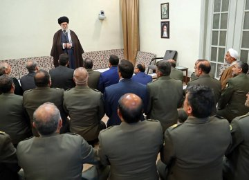 Leader of Islamic Revolution Ayatollah Seyyed Ali Khamenei addresses senior Army commanders in Tehran on Sunday.