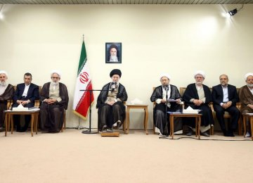 The Leader of Islamic Revolution Ayatollah Seyyed Ali Khamenei addresses the judiciary chief and officials in Tehran on Wednesday.
