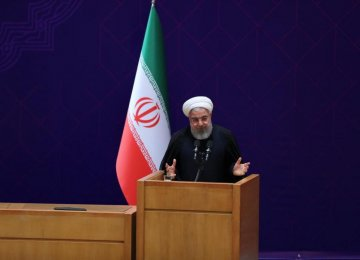 President Hassan Rouhani addresses a gathering of senior government managers in Tehran on Saturday.