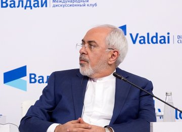 Foreign Minister Mohammad Javad Zarif attends a session of the Valdai Discussion Club in Moscow on Feb. 19.