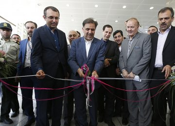 Roads and Urban Development Minister Abbas Akhoundi inaugurates airport projects in Tehran on July 26.