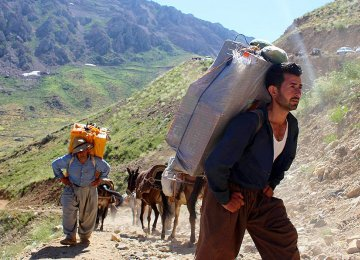 Border couriers are residents of mainly Kurdish-dominated provinces of West Azarbaijan, Kermanshah and Kurdestan who carry contraband on their backs through mountainous areas to earn their livelihood.