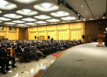 President Rouhani addresses the 57th annual general meeting of the Central Bank of Iran at the CBI headquarters in Tehran on March 4.