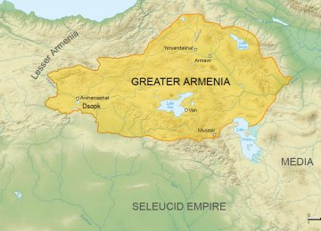 A map of Armenia from 6th to 2nd century BC