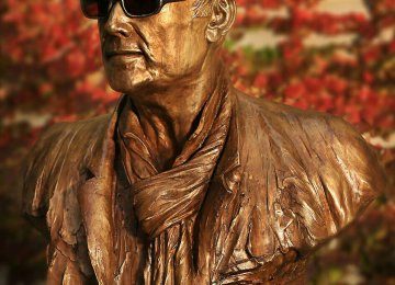 Kiarostami's Bust Installed  at Boom Gallery