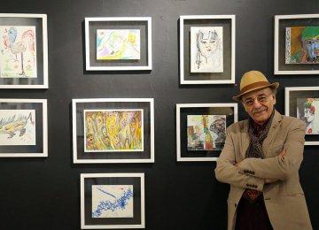 Actor Reza Babak's Paintings at Sakoo Art School