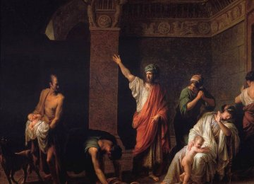 """""""KingAstyagesSendingHarpagusto Kill Young Cyrus"""" by French painter Jean Charles Nicaise Perrin (1754-1831)"""