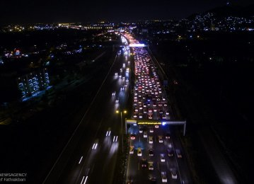 Tehran-Karaj Highway during rush hours