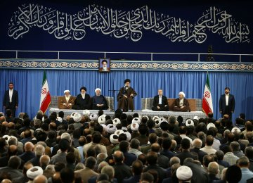 Leader of Islamic Revolution Ayatollah Seyyed Ali Khamenei meets with a number of Iranian officials and ambassadors of Muslim countries in Tehran on Saturday.