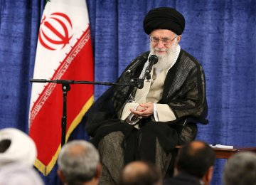 Leader of the Islamic Revolution Ayatollah Seyyed Ali Khamenei addresses authorities in Tehran on Wednesday.