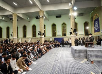 The Leader of  Islamic Revolution Ayatollah Seyyed Ali Khamenei addresses a group of university students in Tehran on Monday.