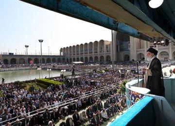 Leader of the Islamic Revolution Ayatollah Seyyed Ali Khamenei delivers a speech on the occasion of Eid al-Fitr in Tehran on Friday.