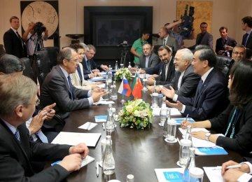 Zarif, Lavrov, Wang Discuss Region,  Nuclear Issue