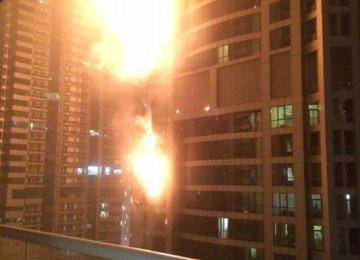 Dubai Tower  In Flames