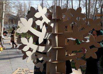 Symbolic Cardboard Trees at Bagh-e-Ferdows