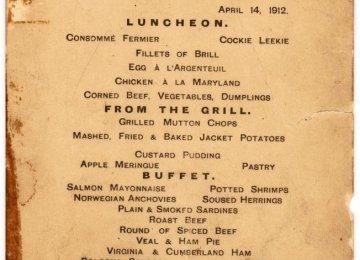 Titanic's Last Lunch Menu Fetches $88,000 at Auction
