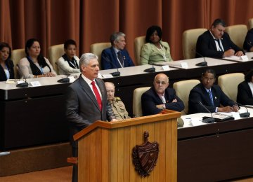 Cuba's new President Miguel Diaz-Canel delivers a speech after he was formally named president by the National Assembly, in Havana on April 19.