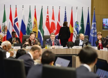 German Foreign Minister Sigmar Gabriel (C) presides over a working session during a meeting of the foreign ministers of the G20 at the World Conference Center in Bonn on Feb. 17.
