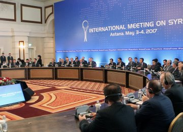 Participants attend the fourth round of Syria peace talks in Astana on May 4.