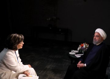 President Hassan Rouhani speaks in an interview with CNN's Christiane Amanpour aired on Sept. 18.