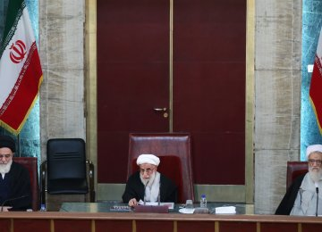 Ayatollah Ahmad Jannati chairs a meeting of the Assembly of Experts in Tehran on March 7.