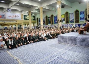 Ayatollah Seyyed Ali Khamenei addresses Basij volunteer forces in Tehran on Nov. 22.