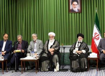 Ayatollah Seyyed Ali Khamenei addresses a cultural meeting in Tehran on June 10.