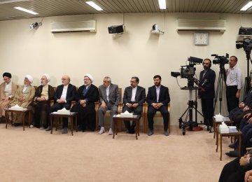 Ayatollah Seyyed Ali Khamenei meets top judiciary officials in Tehran on July 3.