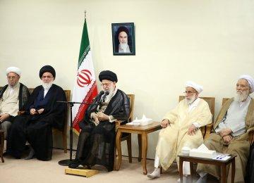 Ayatollah Seyyed Ali Khamenei meets members of the Assembly of Experts in Tehran on Sept. 21.