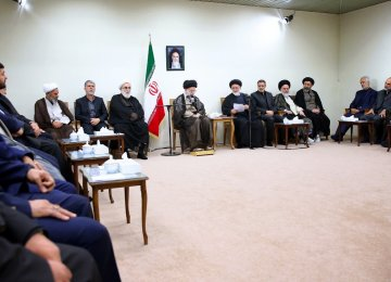 Ayatollah Seyyed Ali Khamenei meets hajj officials in Tehran on Oct. 3.