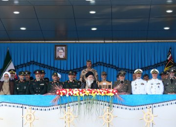 Leader of the Islamic Revolution Ayatollah Seyed Ali Khamenei attends a graduation ceremony for Navy cadets in Nowshahr, Mazandaran Province, on Sunday.