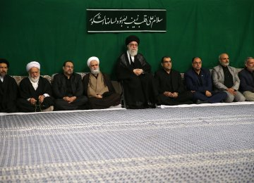 Ayatollah Seyyed Ali Khamenei attends a ceremony in Tehran on Nov. 9 to observe the Arbaeen event.
