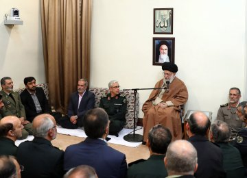 Ayatollah Khamenei addresses top military officials in Tehran on Dec. 3.