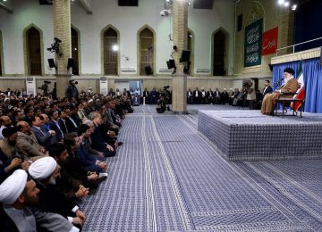 Ayatollah Seyyed Ali Khamenei receives teachers in Tehran on May 7.